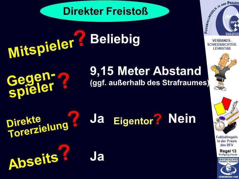 VERBANDS- SCHIEDSRICHTER- LEHRSTAB Fußballregeln in der Praxis des BFV Regel 13 Wolfgang Hauke Mitspieler .