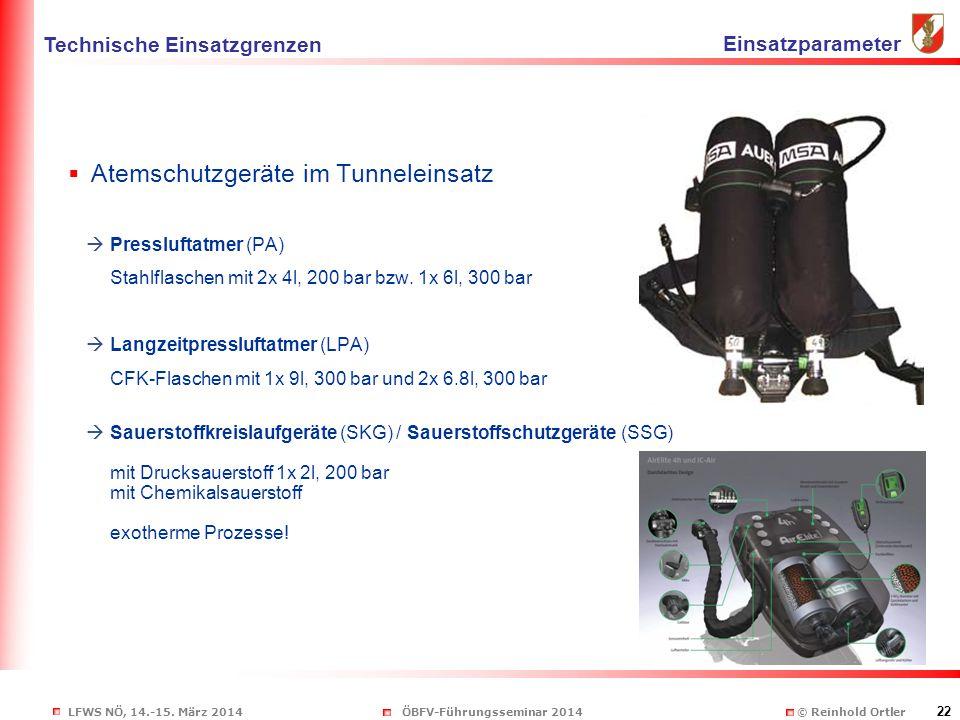 LFWS NÖ, 14.-15. März 2014ÖBFV-Führungsseminar 2014 © Reinhold Ortler 22  Atemschutzgeräte im Tunneleinsatz  Pressluftatmer (PA) Stahlflaschen mit 2