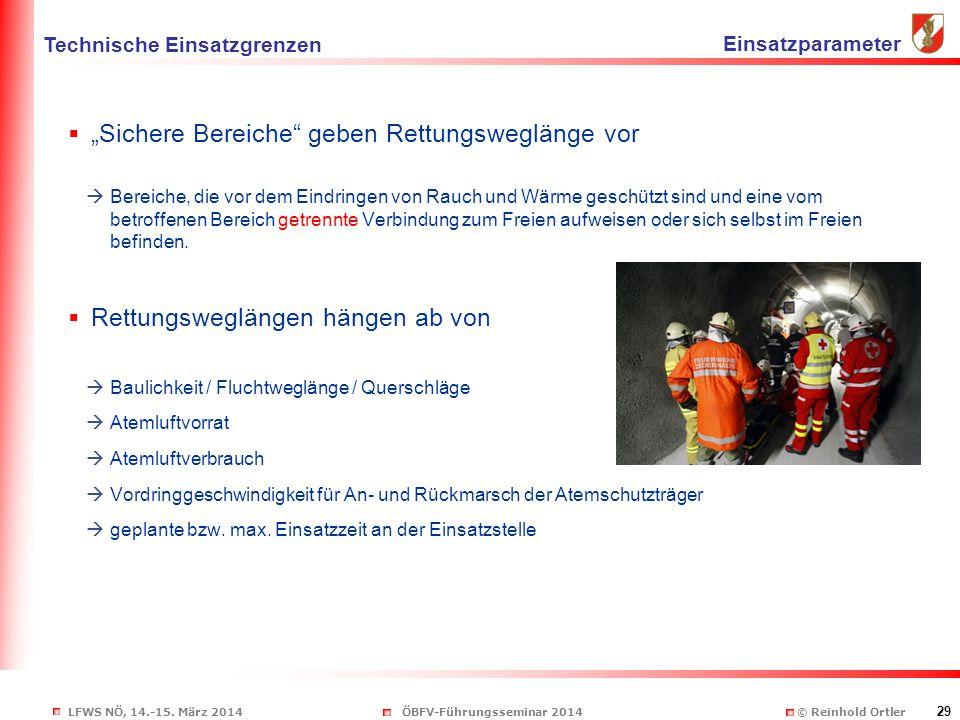 """LFWS NÖ, 14.-15. März 2014ÖBFV-Führungsseminar 2014 © Reinhold Ortler 29  """"Sichere Bereiche"""" geben Rettungsweglänge vor  Bereiche, die vor dem Eindr"""