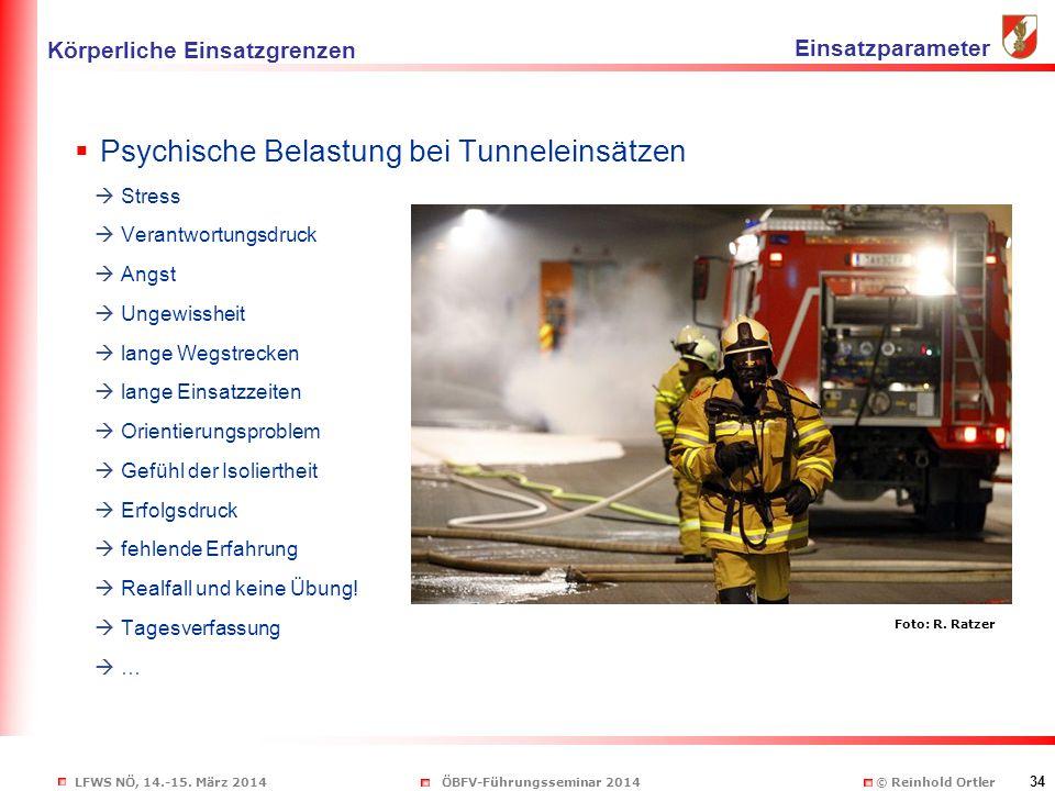 LFWS NÖ, 14.-15. März 2014ÖBFV-Führungsseminar 2014 © Reinhold Ortler 34  Psychische Belastung bei Tunneleinsätzen  Stress  Verantwortungsdruck  A