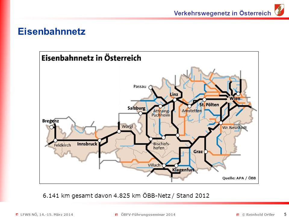 LFWS NÖ, 14.-15. März 2014ÖBFV-Führungsseminar 2014 © Reinhold Ortler 5 Eisenbahnnetz Verkehrswegenetz in Österreich Quelle: APA / ÖBB 6.141 km gesamt