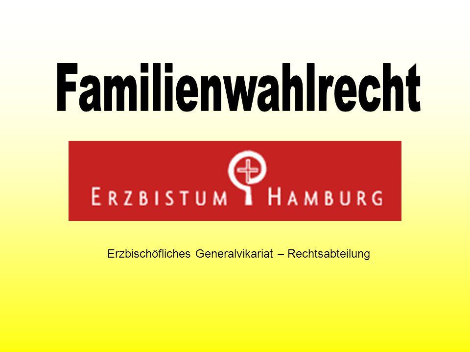 V O R W O R T Bei den Wahlen für die Pfarrgemeinderäte im Erzbistum Hamburg wird in diesem Jahr erstmalig das Familienwahlrecht eingeführt.
