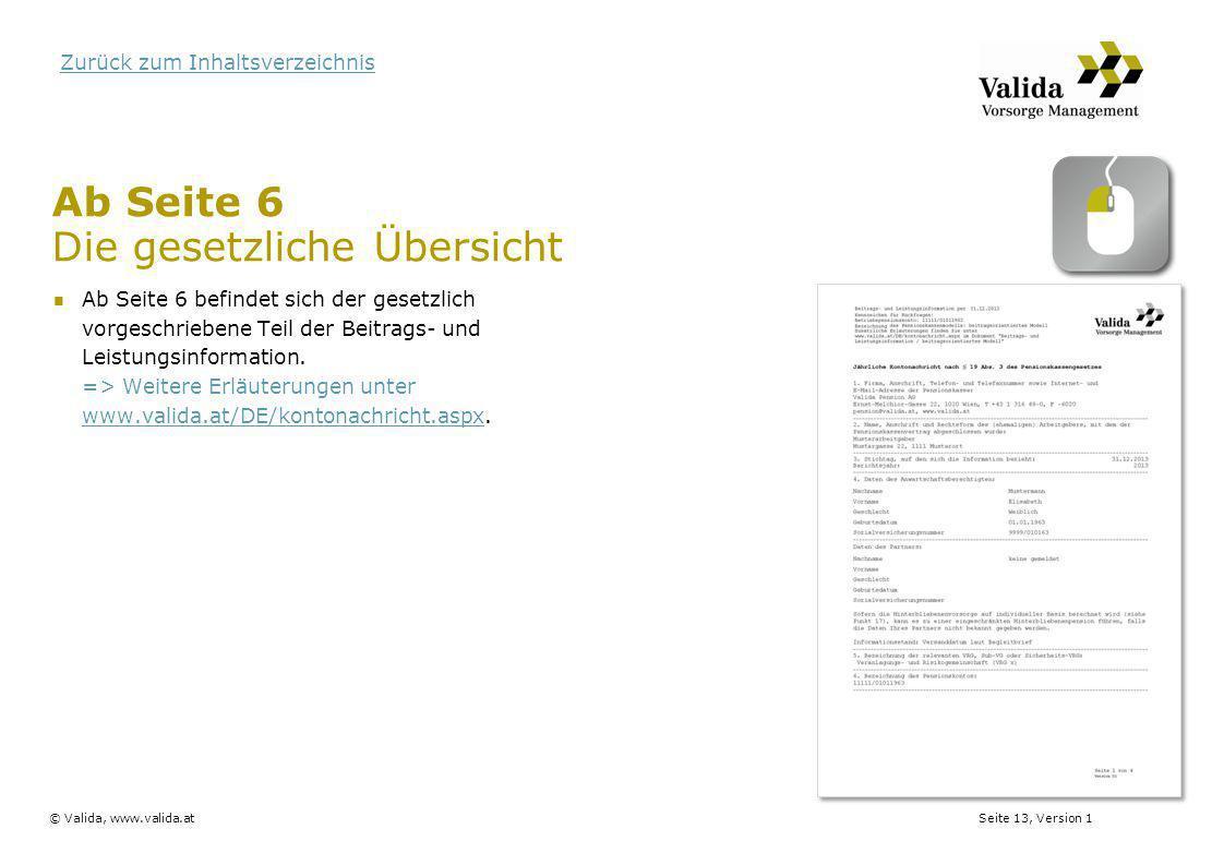 Seite 13, Version 1© Valida, www.valida.at Zurück zum Inhaltsverzeichnis Ab Seite 6 befindet sich der gesetzlich vorgeschriebene Teil der Beitrags- un