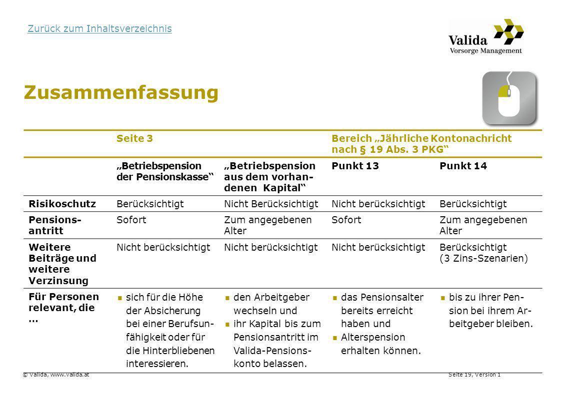"""Seite 19, Version 1© Valida, www.valida.at Zurück zum Inhaltsverzeichnis Zusammenfassung Seite 3Bereich """"Jährliche Kontonachricht nach § 19 Abs. 3 PKG"""