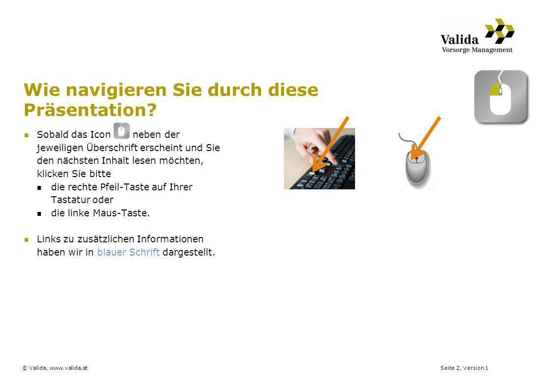 Seite 2, Version 1© Valida, www.valida.at Wie navigieren Sie durch diese Präsentation? Sobald das Icon neben der jeweiligen Überschrift erscheint und
