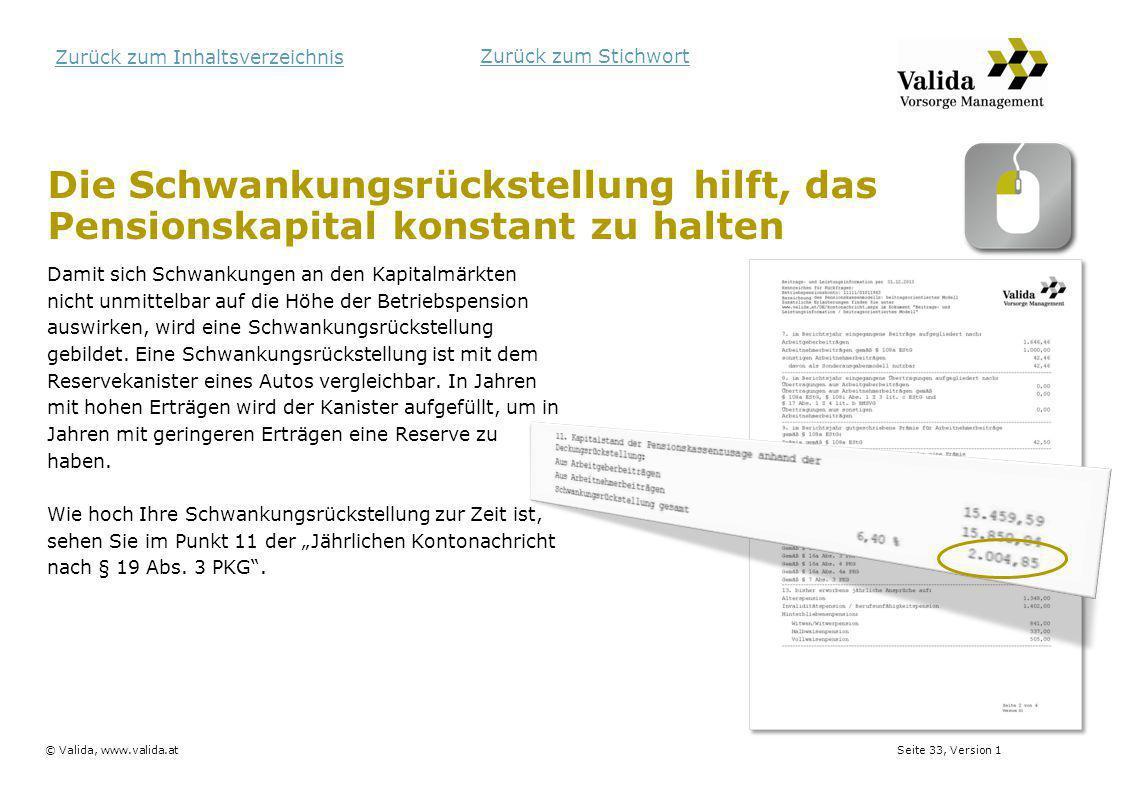 Seite 33, Version 1© Valida, www.valida.at Zurück zum Inhaltsverzeichnis Die Schwankungsrückstellung hilft, das Pensionskapital konstant zu halten Dam