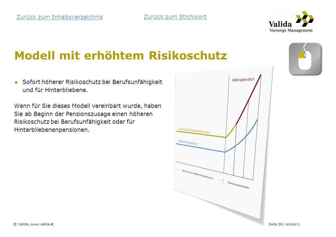 Seite 39, Version 1© Valida, www.valida.at Zurück zum Inhaltsverzeichnis Modell mit erhöhtem Risikoschutz Sofort höherer Risikoschutz bei Berufsunfähi