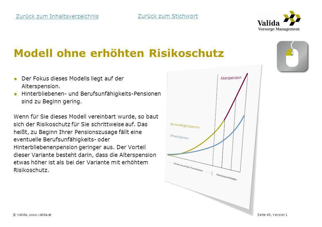 Seite 40, Version 1© Valida, www.valida.at Zurück zum Inhaltsverzeichnis Modell ohne erhöhten Risikoschutz Der Fokus dieses Modells liegt auf der Alte