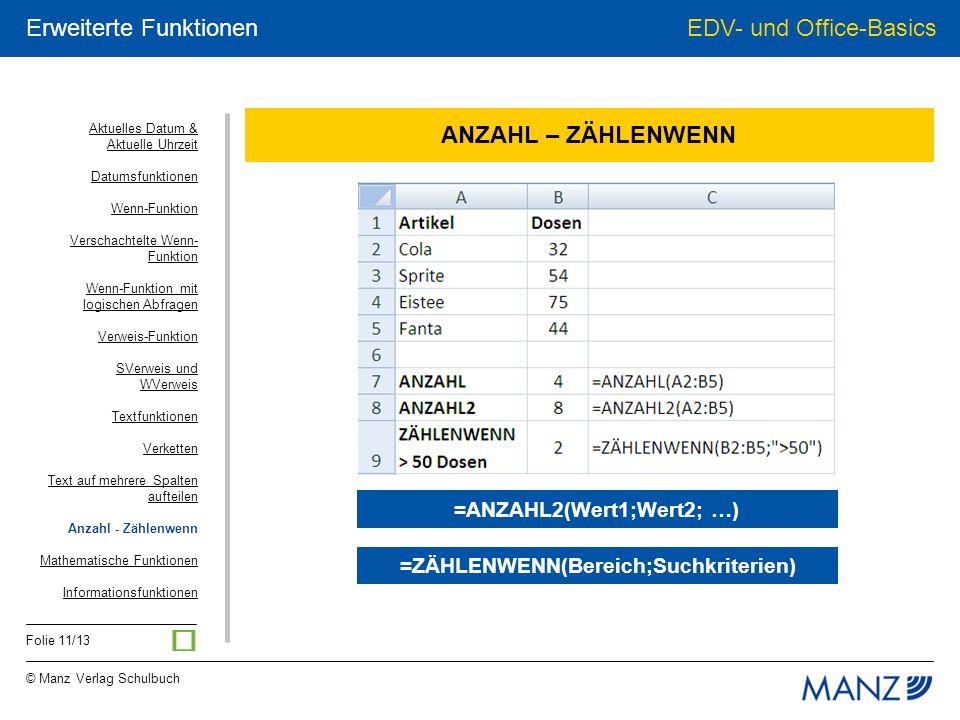 © Manz Verlag Schulbuch EDV- und Office-Basics Folie 11/13 Erweiterte Funktionen ANZAHL – ZÄHLENWENN =ZÄHLENWENN(Bereich;Suchkriterien) =ANZAHL2(Wert1