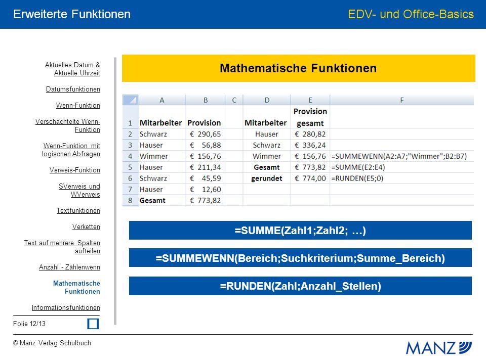 © Manz Verlag Schulbuch EDV- und Office-Basics Folie 12/13 Erweiterte Funktionen Mathematische Funktionen =SUMMEWENN(Bereich;Suchkriterium;Summe_Berei