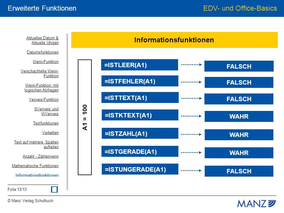 © Manz Verlag Schulbuch EDV- und Office-Basics Folie 13/13 Erweiterte Funktionen Informationsfunktionen A1 = 100 FALSCH =ISTLEER(A1) FALSCH =ISTFEHLER