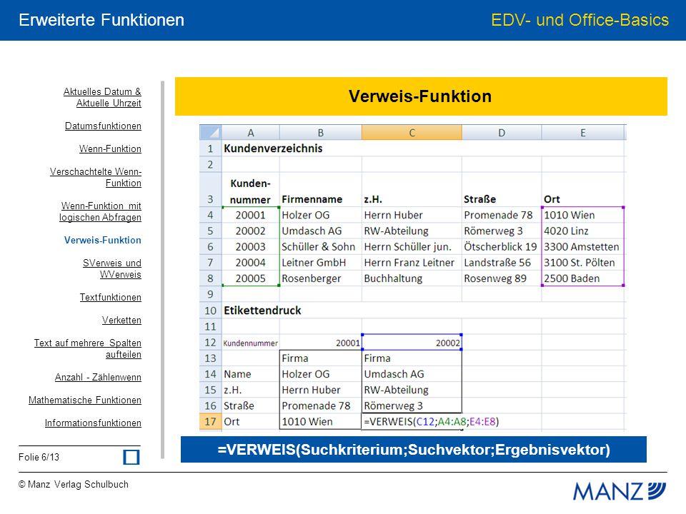 © Manz Verlag Schulbuch EDV- und Office-Basics Folie 6/13 Erweiterte Funktionen Verweis-Funktion =VERWEIS(Suchkriterium;Suchvektor;Ergebnisvektor) Akt