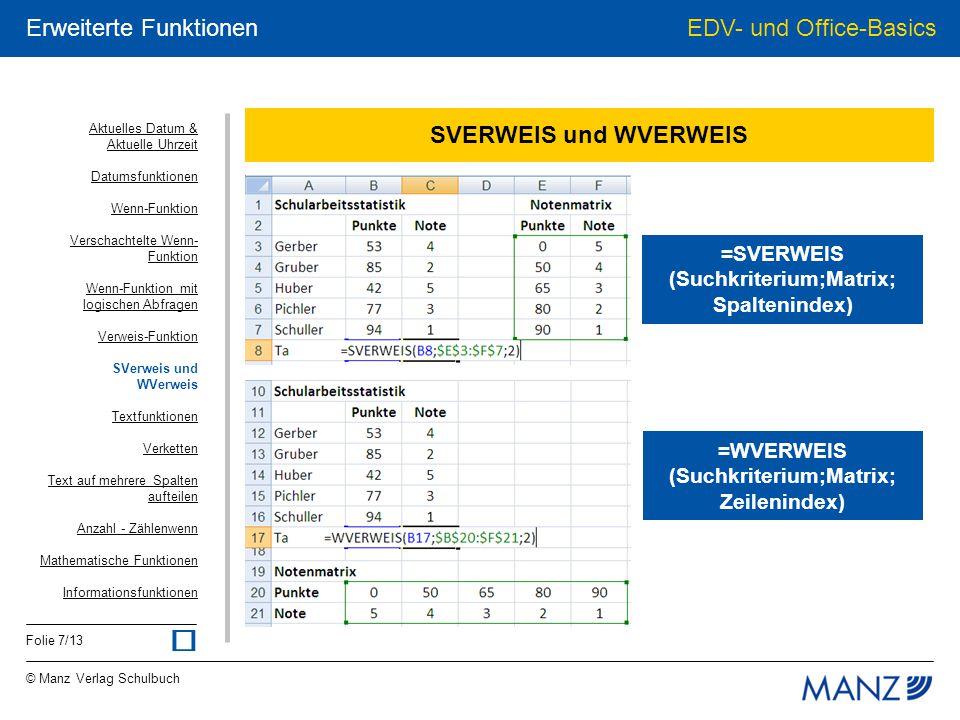 © Manz Verlag Schulbuch EDV- und Office-Basics Folie 8/13 Erweiterte Funktionen Textfunktionen johanna GRUBER johanna gruber =KLEIN(A1) JOHANNA GRUBER =GROSS(A1) Johanna Gruber =GROSS2(A1) joh =LINKS(A1;3) GRUBER =RECHTS(A1;6) hanna =TEIL(A1;3,5) Aktuelles Datum & Aktuelle Uhrzeit Datumsfunktionen Wenn-Funktion Verschachtelte Wenn- Funktion Wenn-Funktion mit logischen Abfragen Verweis-Funktion SVerweis und WVerweis Textfunktionen Verketten Text auf mehrere Spalten aufteilen Anzahl - Zählenwenn Mathematische Funktionen Informationsfunktionen