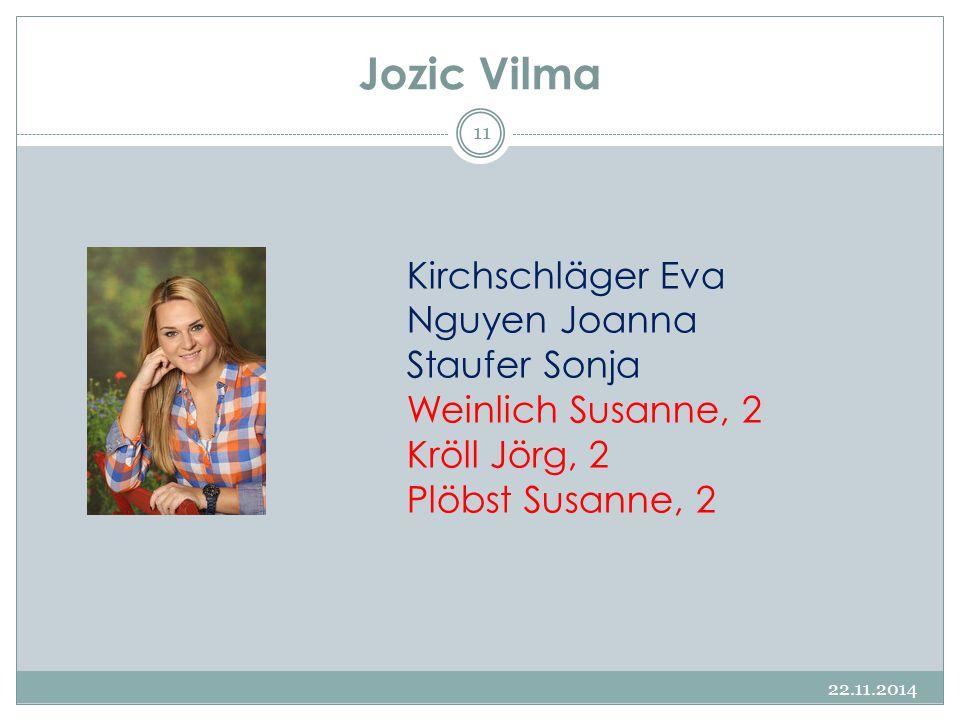 Jozic Vilma 22.11.2014 11 Kirchschläger Eva Nguyen Joanna Staufer Sonja Weinlich Susanne, 2 Kröll Jörg, 2 Plöbst Susanne, 2