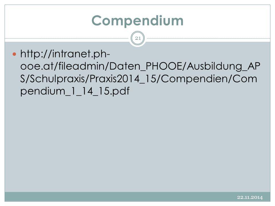 Compendium 22.11.2014 21 http://intranet.ph- ooe.at/fileadmin/Daten_PHOOE/Ausbildung_AP S/Schulpraxis/Praxis2014_15/Compendien/Com pendium_1_14_15.pdf