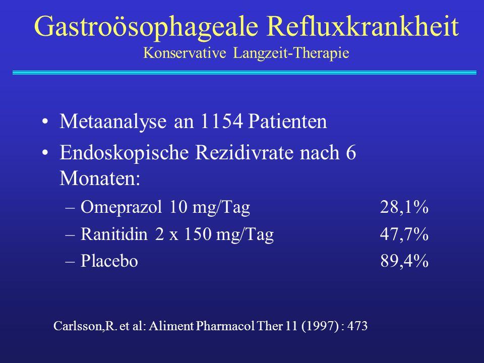 Metaanalyse an 1154 Patienten Endoskopische Rezidivrate nach 6 Monaten: –Omeprazol 10 mg/Tag28,1% –Ranitidin 2 x 150 mg/Tag47,7% –Placebo89,4% Carlsso