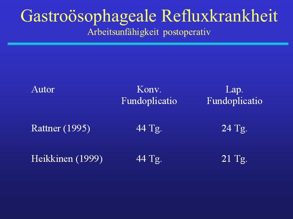 Gastroösophageale Refluxkrankheit Arbeitsunfähigkeit postoperativ