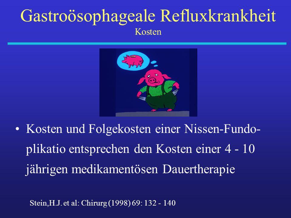 Gastroösophageale Refluxkrankheit Kosten Kosten und Folgekosten einer Nissen-Fundo- plikatio entsprechen den Kosten einer 4 - 10 jährigen medikamentös