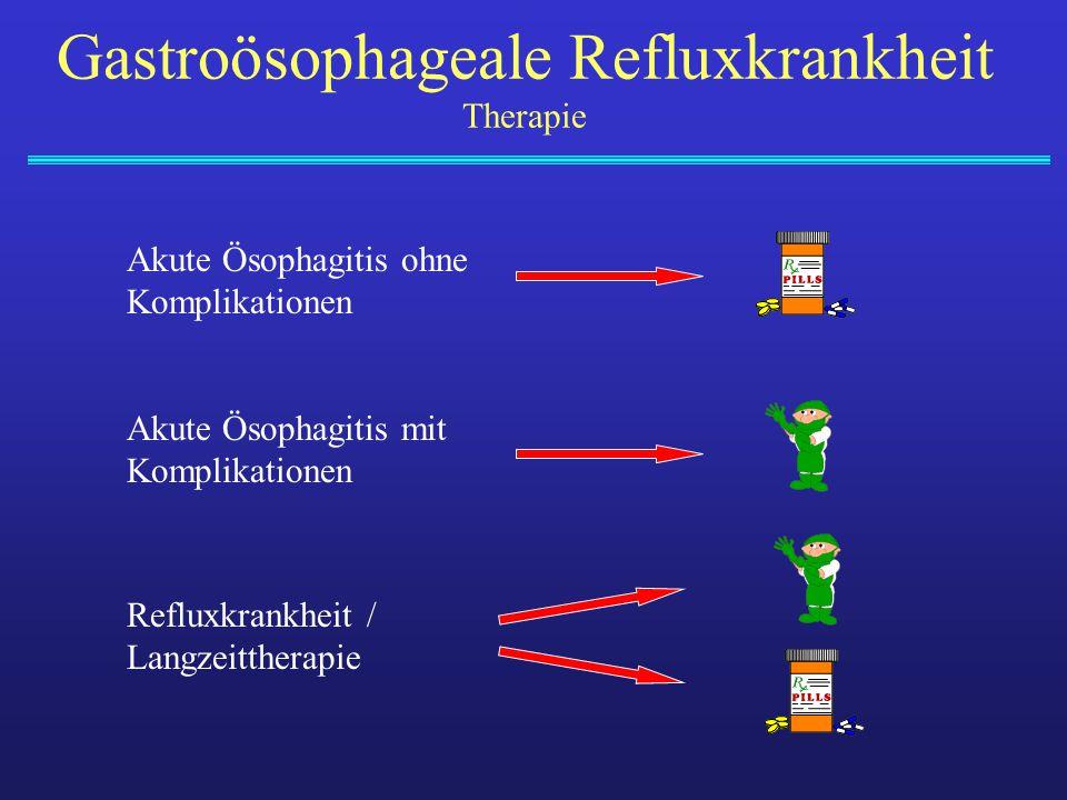 Gastroösophageale Refluxkrankheit Therapie Akute Ösophagitis ohne Komplikationen Akute Ösophagitis mit Komplikationen Refluxkrankheit / Langzeittherap