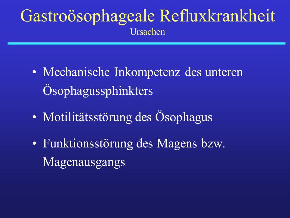 Mechanische Inkompetenz des unteren Ösophagussphinkters Motilitätsstörung des Ösophagus Funktionsstörung des Magens bzw. Magenausgangs Gastroösophagea