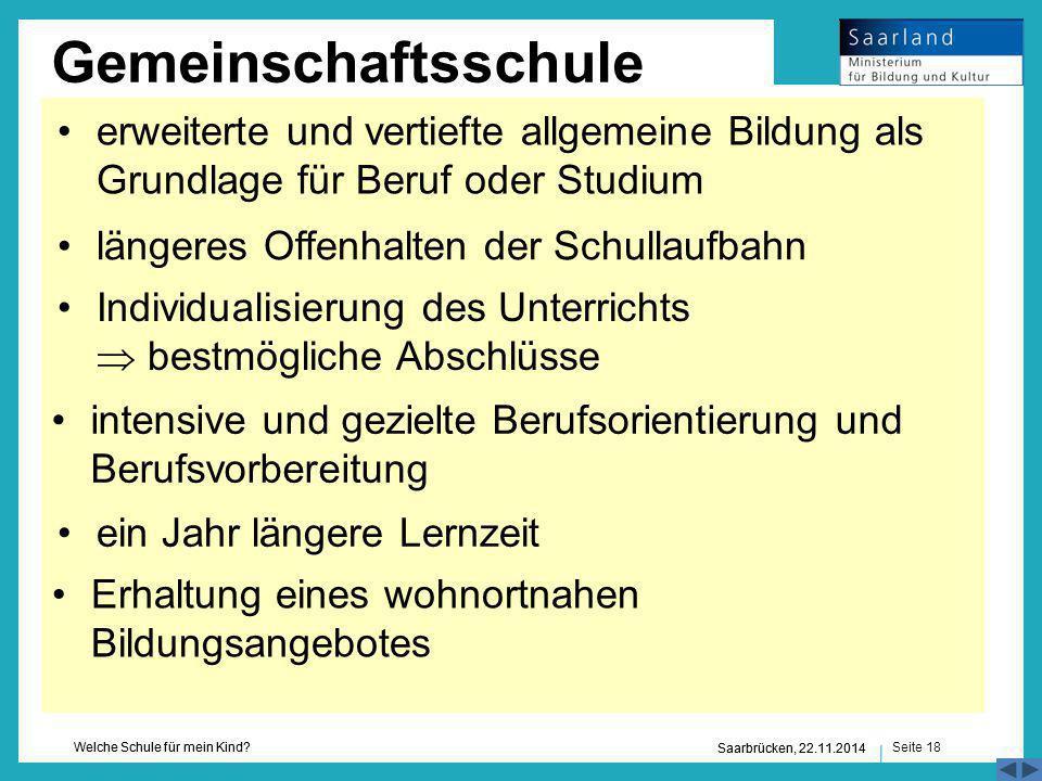 Seite 18 Welche Schule für mein Kind? Saarbrücken, 22.11.2014 Gemeinschaftsschule Erhaltung eines wohnortnahen Bildungsangebotes ein Jahr längere Lern