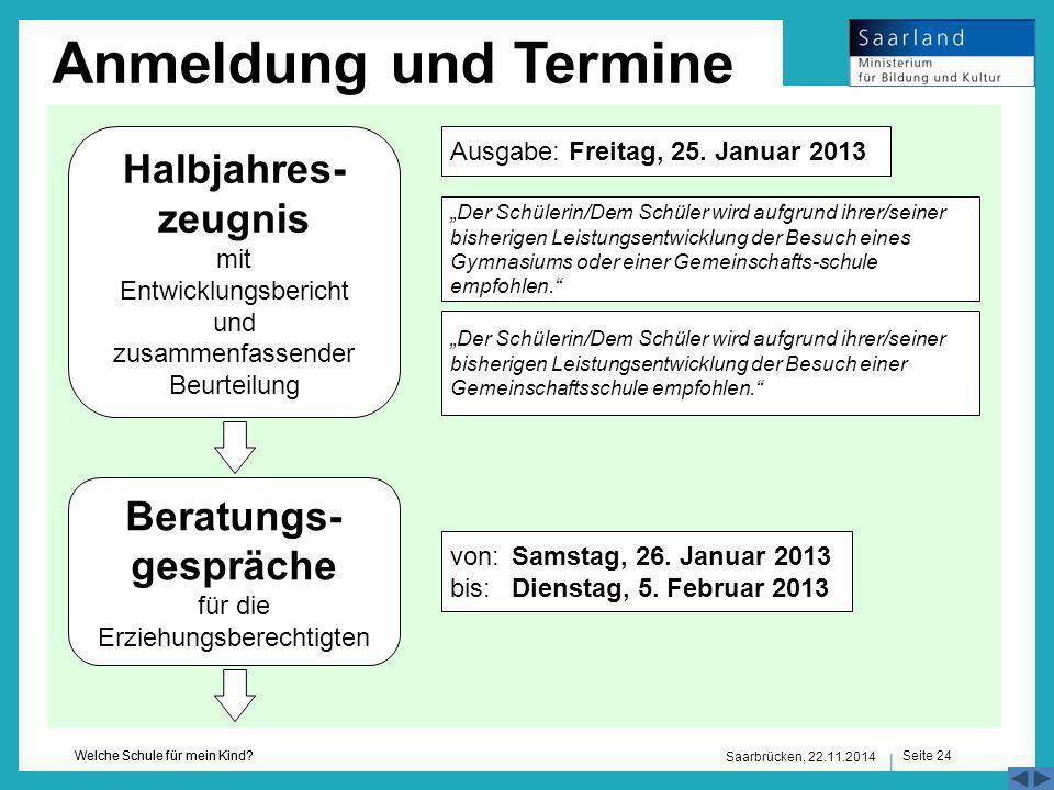 Seite 24 Welche Schule für mein Kind? Saarbrücken, 22.11.2014 Anmeldung und Termine Halbjahres- zeugnis mit Entwicklungsbericht und zusammenfassender