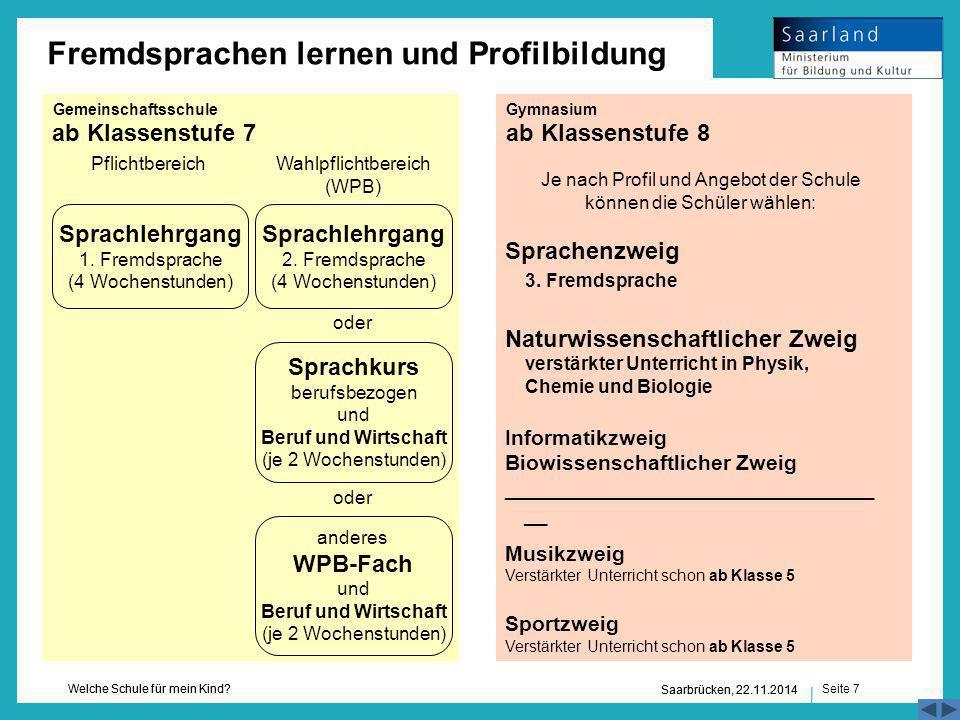 Seite 7 Welche Schule für mein Kind? Saarbrücken, 22.11.2014 ab Klassenstufe 7ab Klassenstufe 8 3. Fremdsprache verstärkter Unterricht in Physik, Chem