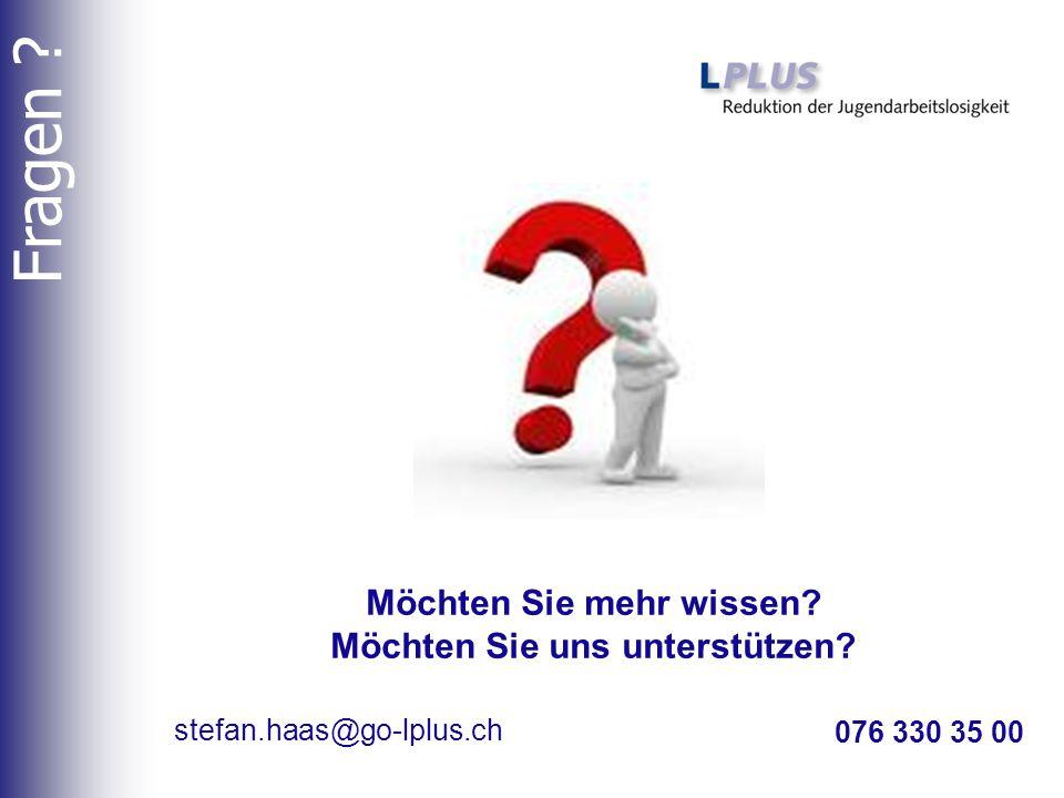 076 330 35 00 stefan.haas@go-lplus.ch Möchten Sie mehr wissen? Möchten Sie uns unterstützen? Fragen ?