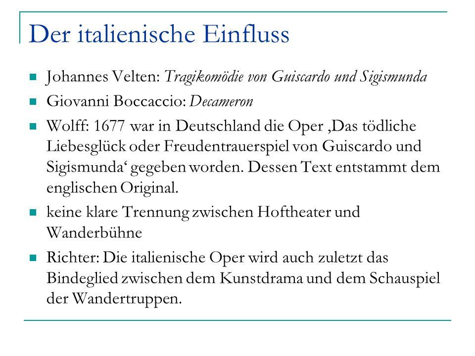 Der italienische Einfluss Johannes Velten: Tragikomödie von Guiscardo und Sigismunda Giovanni Boccaccio: Decameron Wolff: 1677 war in Deutschland die