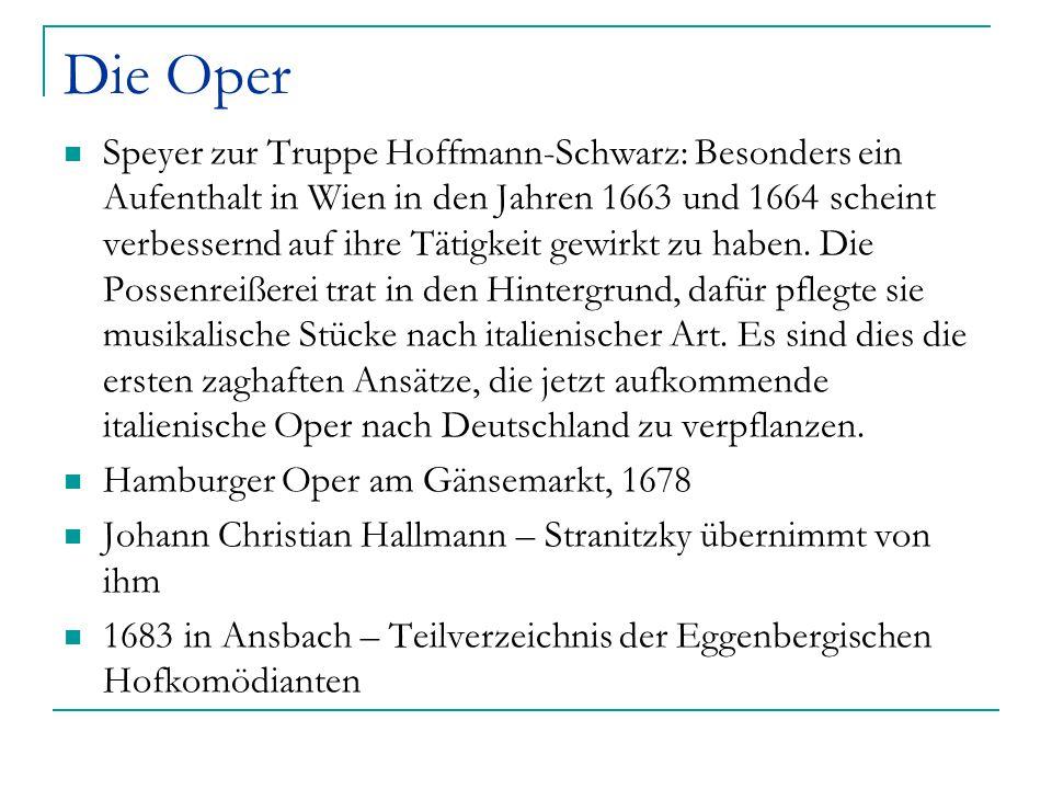 Die Oper Speyer zur Truppe Hoffmann-Schwarz: Besonders ein Aufenthalt in Wien in den Jahren 1663 und 1664 scheint verbessernd auf ihre Tätigkeit gewir