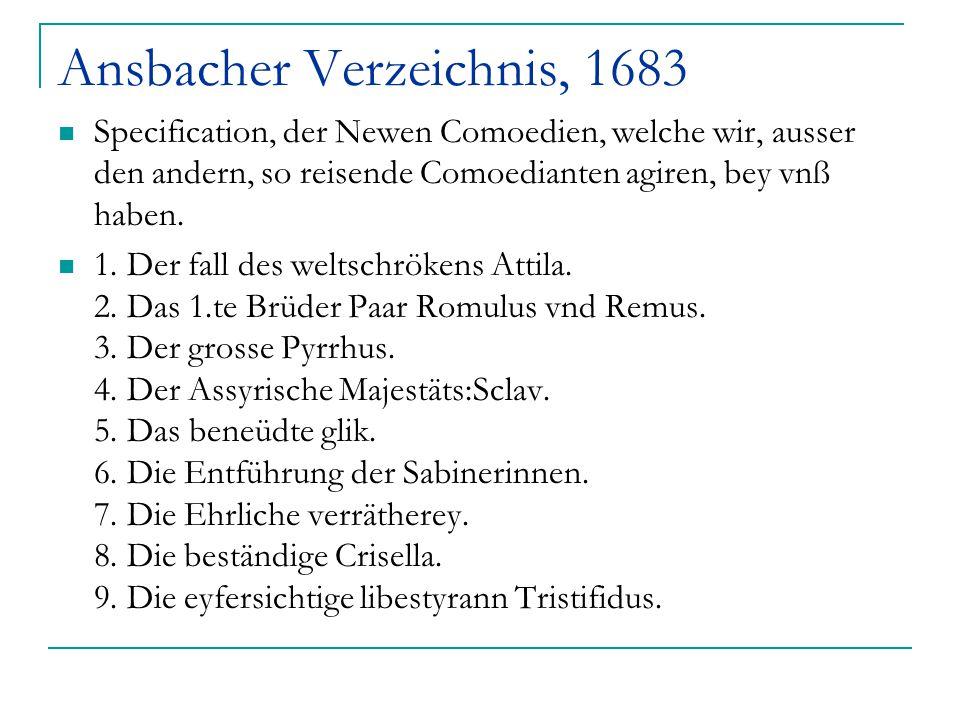 Ansbacher Verzeichnis, 1683 Specification, der Newen Comoedien, welche wir, ausser den andern, so reisende Comoedianten agiren, bey vnß haben. 1. Der