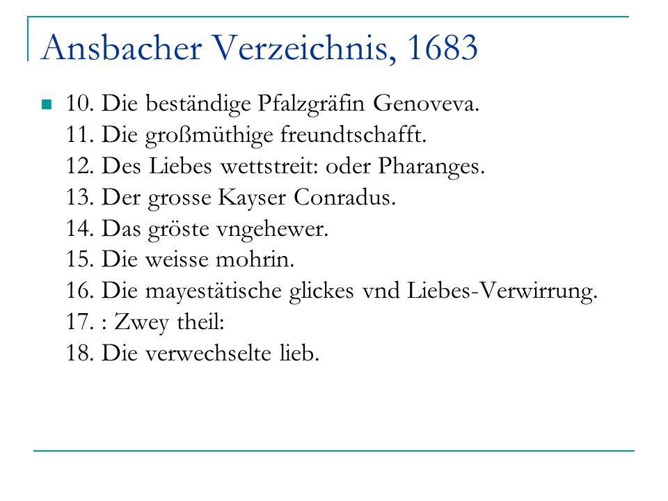 Ansbacher Verzeichnis, 1683 10. Die beständige Pfalzgräfin Genoveva. 11. Die großmüthige freundtschafft. 12. Des Liebes wettstreit: oder Pharanges. 13