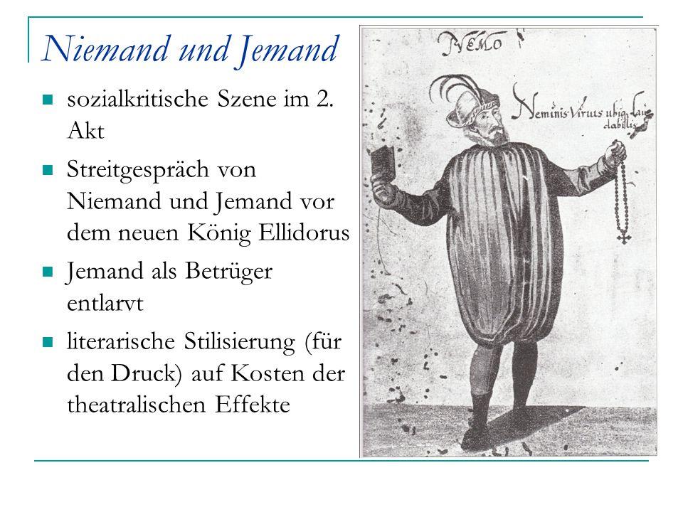 Niemand und Jemand sozialkritische Szene im 2. Akt Streitgespräch von Niemand und Jemand vor dem neuen König Ellidorus Jemand als Betrüger entlarvt li
