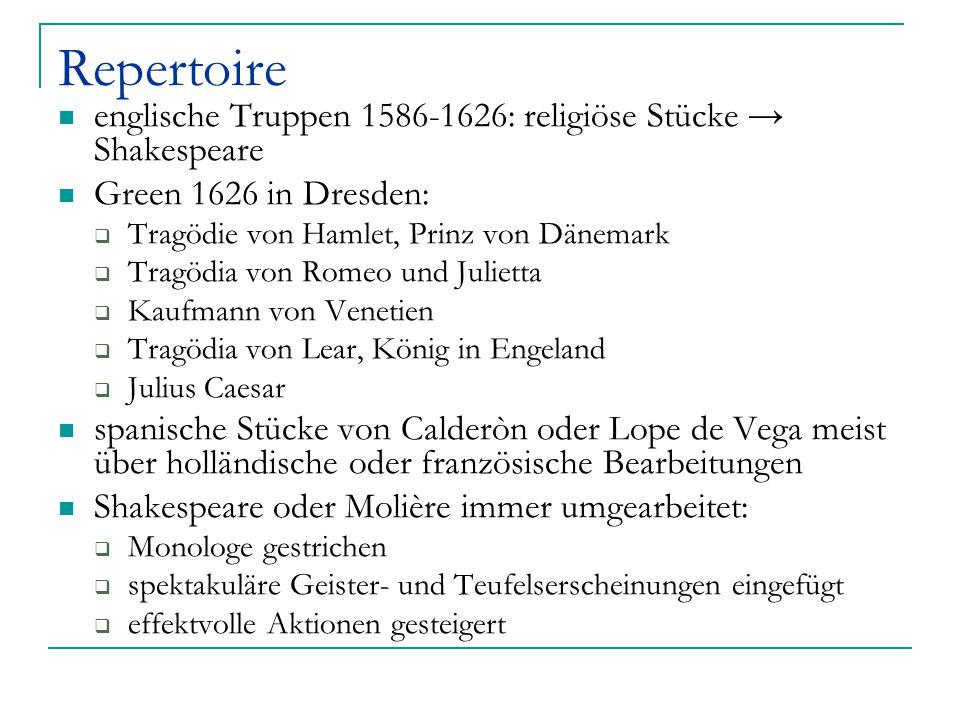 Repertoire englische Truppen 1586-1626: religiöse Stücke → Shakespeare Green 1626 in Dresden:  Tragödie von Hamlet, Prinz von Dänemark  Tragödia von