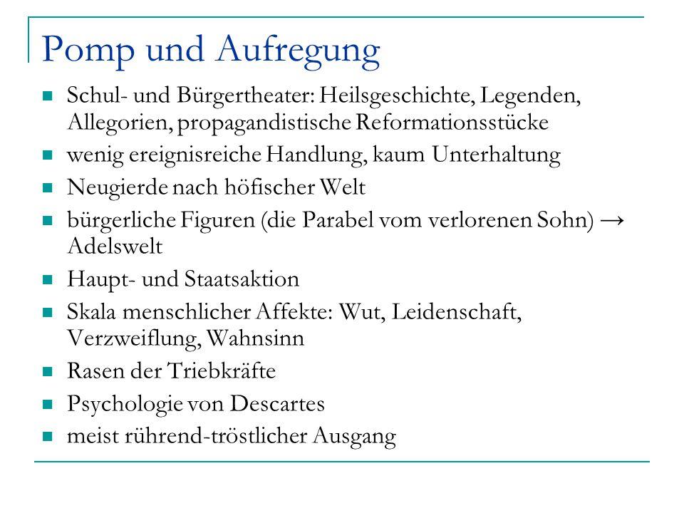 Pomp und Aufregung Schul- und Bürgertheater: Heilsgeschichte, Legenden, Allegorien, propagandistische Reformationsstücke wenig ereignisreiche Handlung