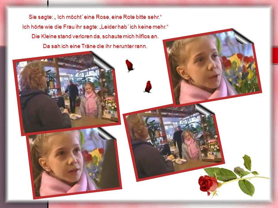 """Sie sagte: """" Ich möcht´ eine Rose, eine Rote bitte sehr. Ich hörte wie die Frau ihr sagte: """"Leider hab´ ich keine mehr. Die Kleine stand verloren da, schaute mich hilflos an."""