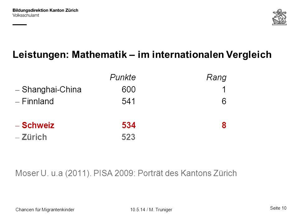 Leistungen: Mathematik – im internationalen Vergleich PunkteRang – Shanghai-China6001 – Finnland5416 – Schweiz 5348 – Zürich523 Moser U. u.a (2011). P