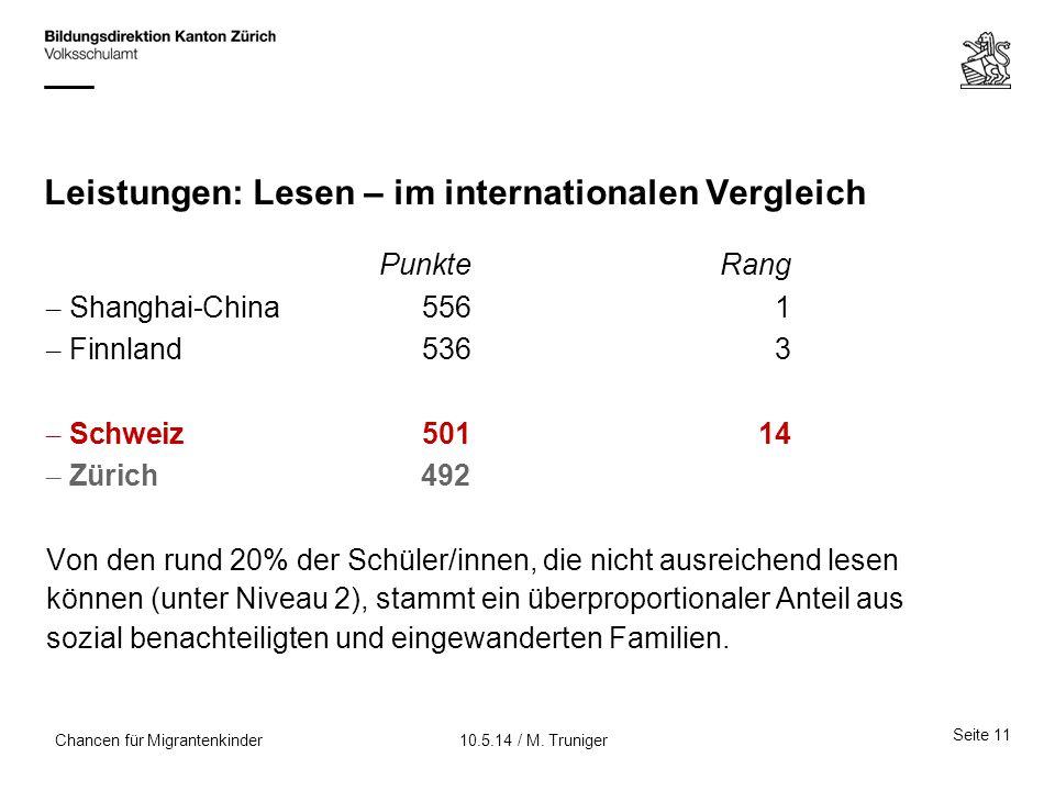 Leistungen: Lesen – im internationalen Vergleich PunkteRang – Shanghai-China5561 – Finnland5363 – Schweiz 50114 – Zürich492 Von den rund 20% der Schül