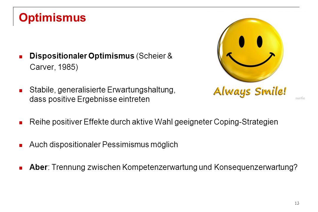 Optimismus Dispositionaler Optimismus (Scheier & Carver, 1985) Stabile, generalisierte Erwartungshaltung, dass positive Ergebnisse eintreten Reihe pos