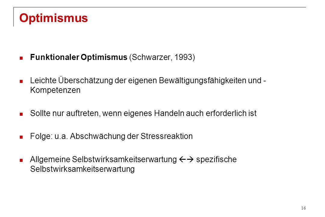 Optimismus Funktionaler Optimismus (Schwarzer, 1993) Leichte Überschätzung der eigenen Bewältigungsfähigkeiten und - Kompetenzen Sollte nur auftreten,