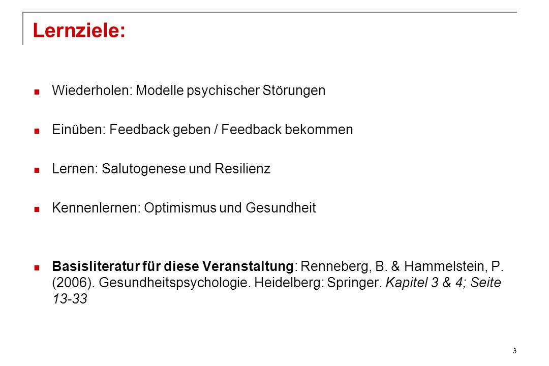 Wiederholen: Modelle psychischer Störungen Einüben: Feedback geben / Feedback bekommen Lernen: Salutogenese und Resilienz Kennenlernen: Optimismus und