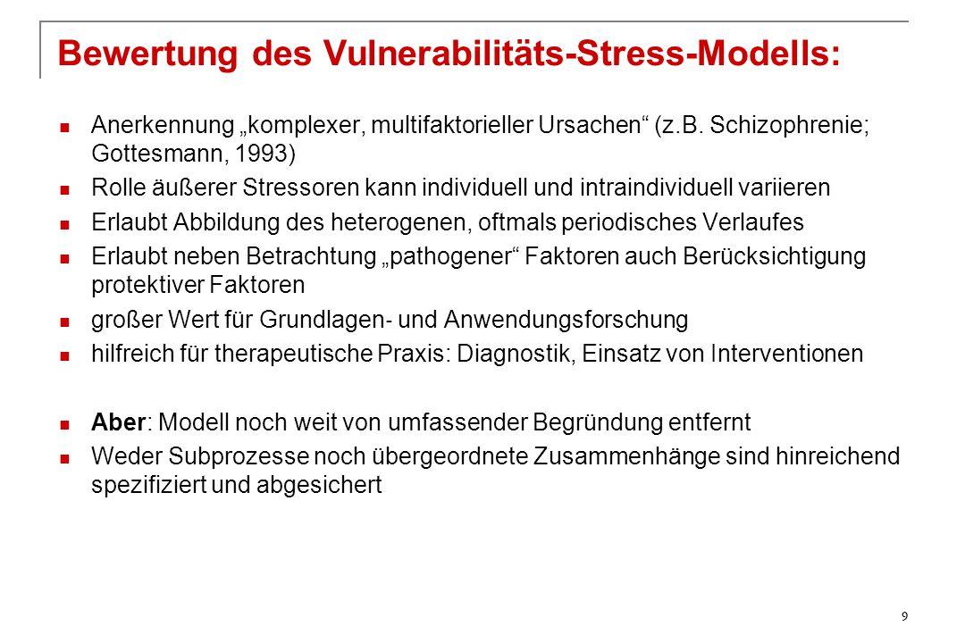 """Anerkennung """"komplexer, multifaktorieller Ursachen"""" (z.B. Schizophrenie; Gottesmann, 1993) Rolle äußerer Stressoren kann individuell und intraindividu"""