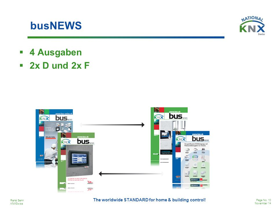 René Senn KNXSwiss Page No. 10 November 14 The worldwide STANDARD for home & building control! busNEWS  4 Ausgaben  2x D und 2x F