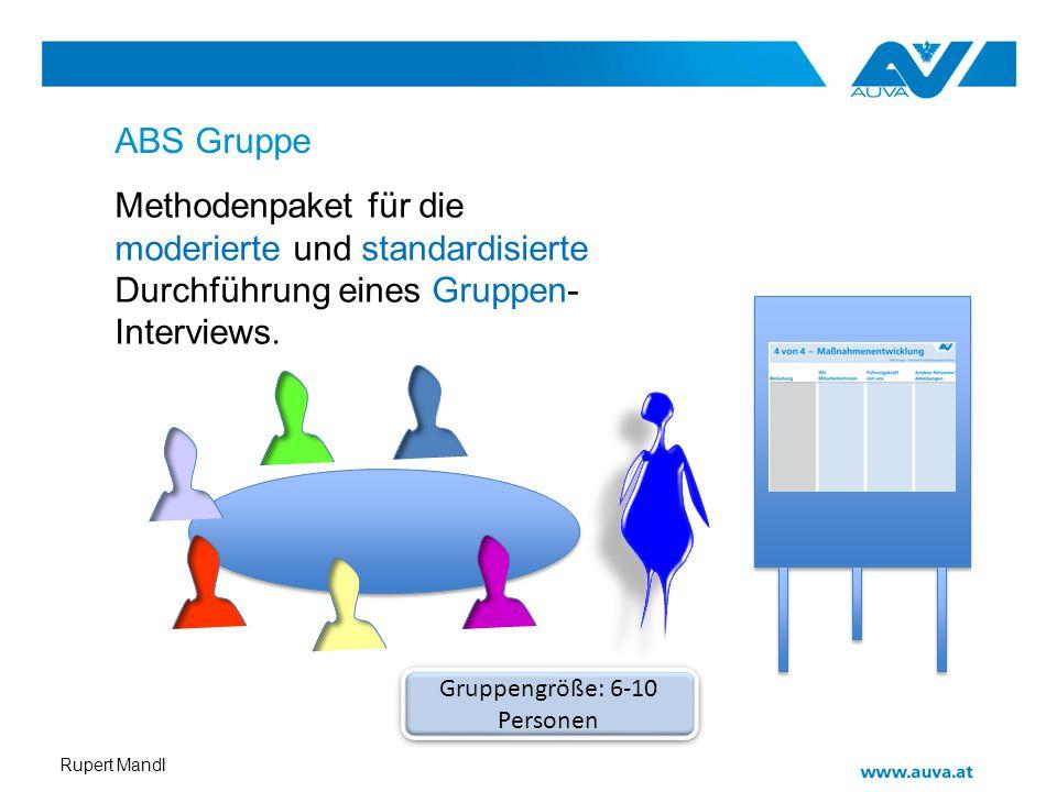 Rupert Mandl ABS Gruppe Methodenpaket für die moderierte und standardisierte Durchführung eines Gruppen- Interviews. Gruppengröße: 6-10 Personen