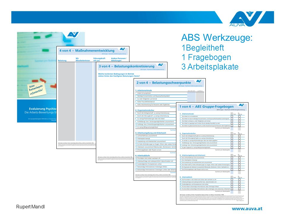 Rupert Mandl ABS Werkzeuge: 1Begleitheft 1 Fragebogen 3 Arbeitsplakate