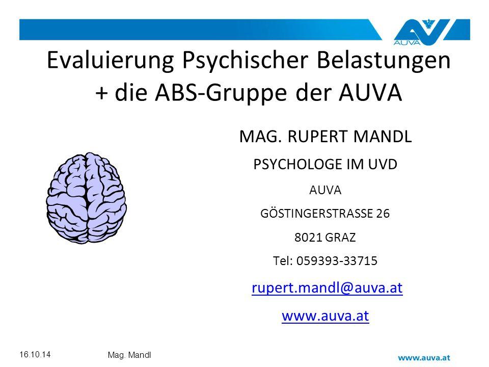 Rupert Mandl ABS Gruppe Methodenpaket für die moderierte und standardisierte Durchführung eines Gruppen- Interviews.