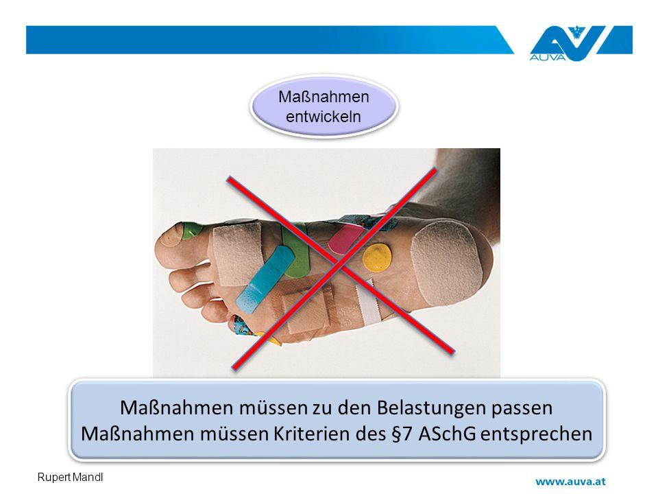 Rupert Mandl Maßnahmen entwickeln Maßnahmen entwickeln Maßnahmen müssen zu den Belastungen passen Maßnahmen müssen Kriterien des §7 ASchG entsprechen
