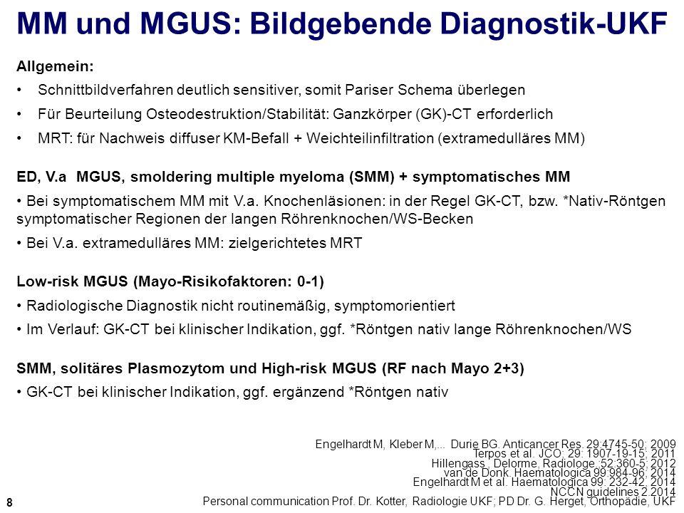 MM und MGUS: Bildgebende Diagnostik-UKF Engelhardt M, Kleber M,... Durie BG. Anticancer Res. 29:4745-50; 2009 Terpos et al. JCO; 29: 1907-19-15; 2011