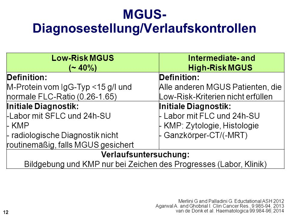 MGUS- Diagnosestellung/Verlaufskontrollen Merlini G and Palladini G. Eductational ASH 2012 Agarwal A. and Ghobrial I. Clin Cancer Res., 9:985-94, 2013