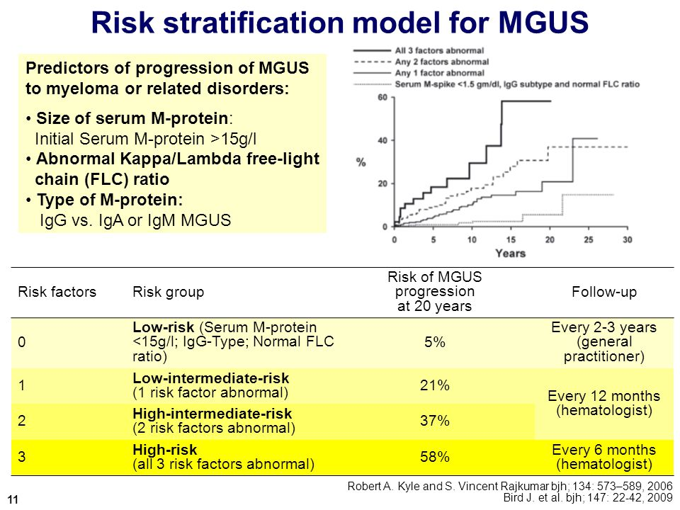 Risk stratification model for MGUS Robert A.Kyle and S.